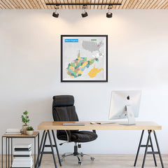 Ezposterprints - West Virginia (WV) State - General Reference Map - 24x24 ambiance display photo sample
