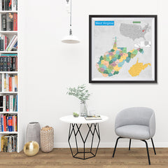 Ezposterprints - West Virginia (WV) State - General Reference Map - 32x32 ambiance display photo sample