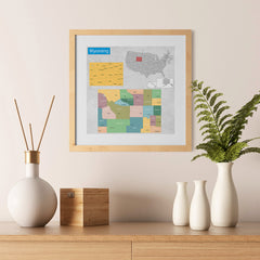 Ezposterprints - Wyoming (WY) State - General Reference Map - 12x12 ambiance display photo sample