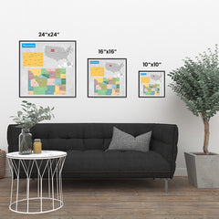 Ezposterprints - Wyoming (WY) State - General Reference Map ambiance display photo sample