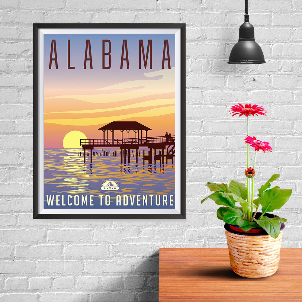 Ezposterprints - ALABAMA Retro Travel Poster - 12x16 ambiance display photo sample