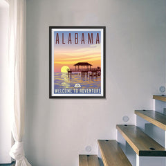 Ezposterprints - ALABAMA Retro Travel Poster - 18x24 ambiance display photo sample