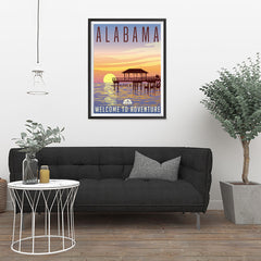 Ezposterprints - ALABAMA Retro Travel Poster - 24x32 ambiance display photo sample