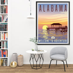 Ezposterprints - ALABAMA Retro Travel Poster - 36x48 ambiance display photo sample