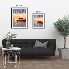 Ezposterprints - ALABAMA Retro Travel Poster ambiance display photo sample