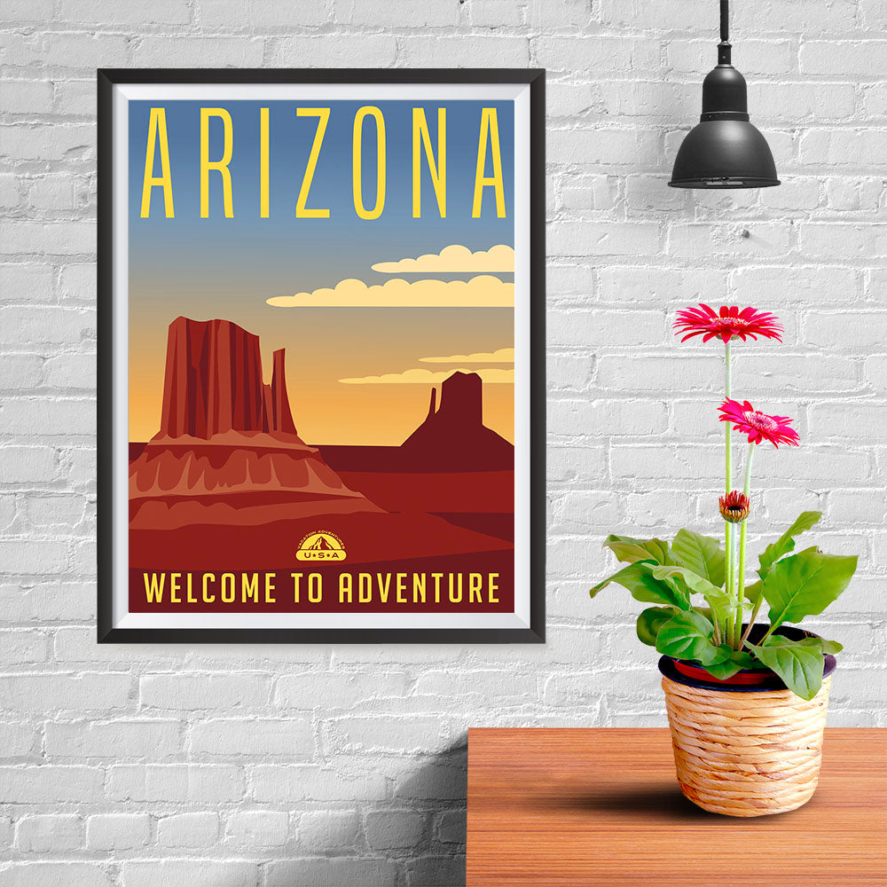 Ezposterprints - ARIZONA Retro Travel Poster - 12x16 ambiance display photo sample