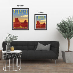 Ezposterprints - ARIZONA Retro Travel Poster ambiance display photo sample
