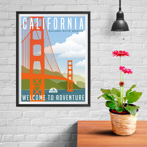 Ezposterprints - CALIFORNIA Retro Travel Poster - 12x16 ambiance display photo sample