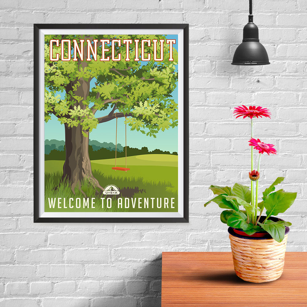 Ezposterprints - CONNECTICUT Retro Travel Poster - 12x16 ambiance display photo sample
