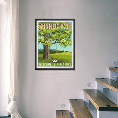 Ezposterprints - CONNECTICUT Retro Travel Poster - 18x24 ambiance display photo sample