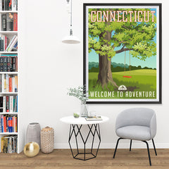 Ezposterprints - CONNECTICUT Retro Travel Poster - 36x48 ambiance display photo sample