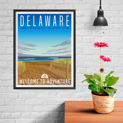 Ezposterprints - DELAWARE Retro Travel Poster - 12x16 ambiance display photo sample