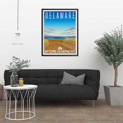 Ezposterprints - DELAWARE Retro Travel Poster - 24x32 ambiance display photo sample