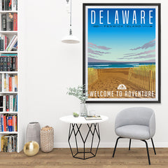 Ezposterprints - DELAWARE Retro Travel Poster - 36x48 ambiance display photo sample