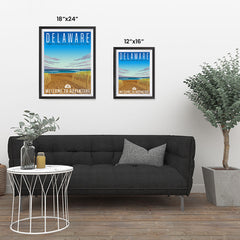 Ezposterprints - DELAWARE Retro Travel Poster ambiance display photo sample