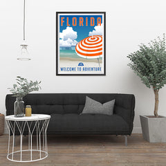 Ezposterprints - FLORIDA Retro Travel Poster - 24x32 ambiance display photo sample