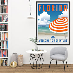 Ezposterprints - FLORIDA Retro Travel Poster - 36x48 ambiance display photo sample