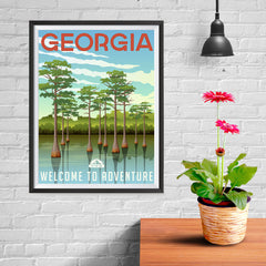 Ezposterprints - GEORGIA Retro Travel Poster - 12x16 ambiance display photo sample