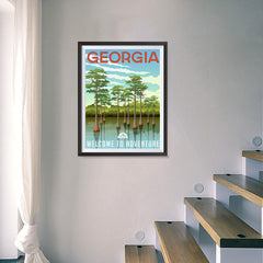 Ezposterprints - GEORGIA Retro Travel Poster - 18x24 ambiance display photo sample