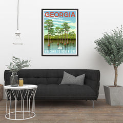 Ezposterprints - GEORGIA Retro Travel Poster - 24x32 ambiance display photo sample