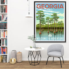Ezposterprints - GEORGIA Retro Travel Poster - 36x48 ambiance display photo sample