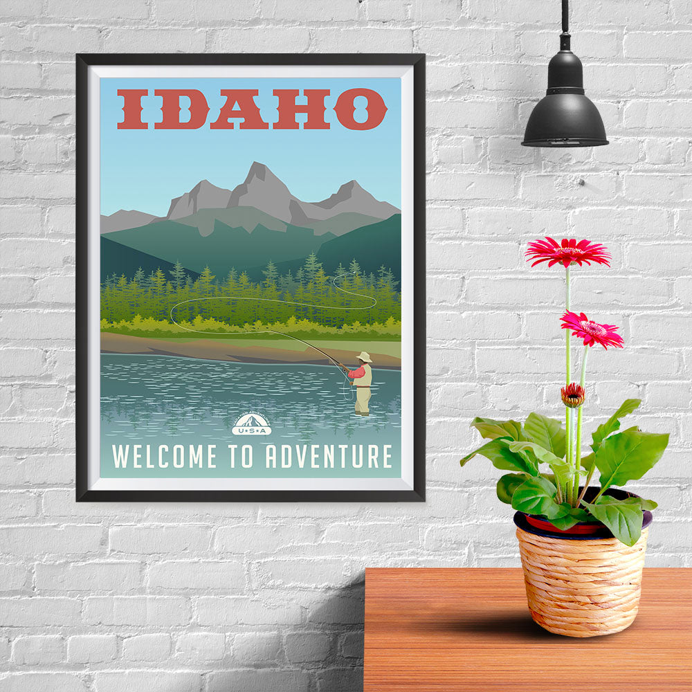 Ezposterprints - IDAHO Retro Travel Poster - 12x16 ambiance display photo sample