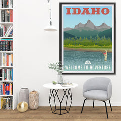 Ezposterprints - IDAHO Retro Travel Poster - 36x48 ambiance display photo sample