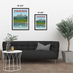 Ezposterprints - IDAHO Retro Travel Poster ambiance display photo sample