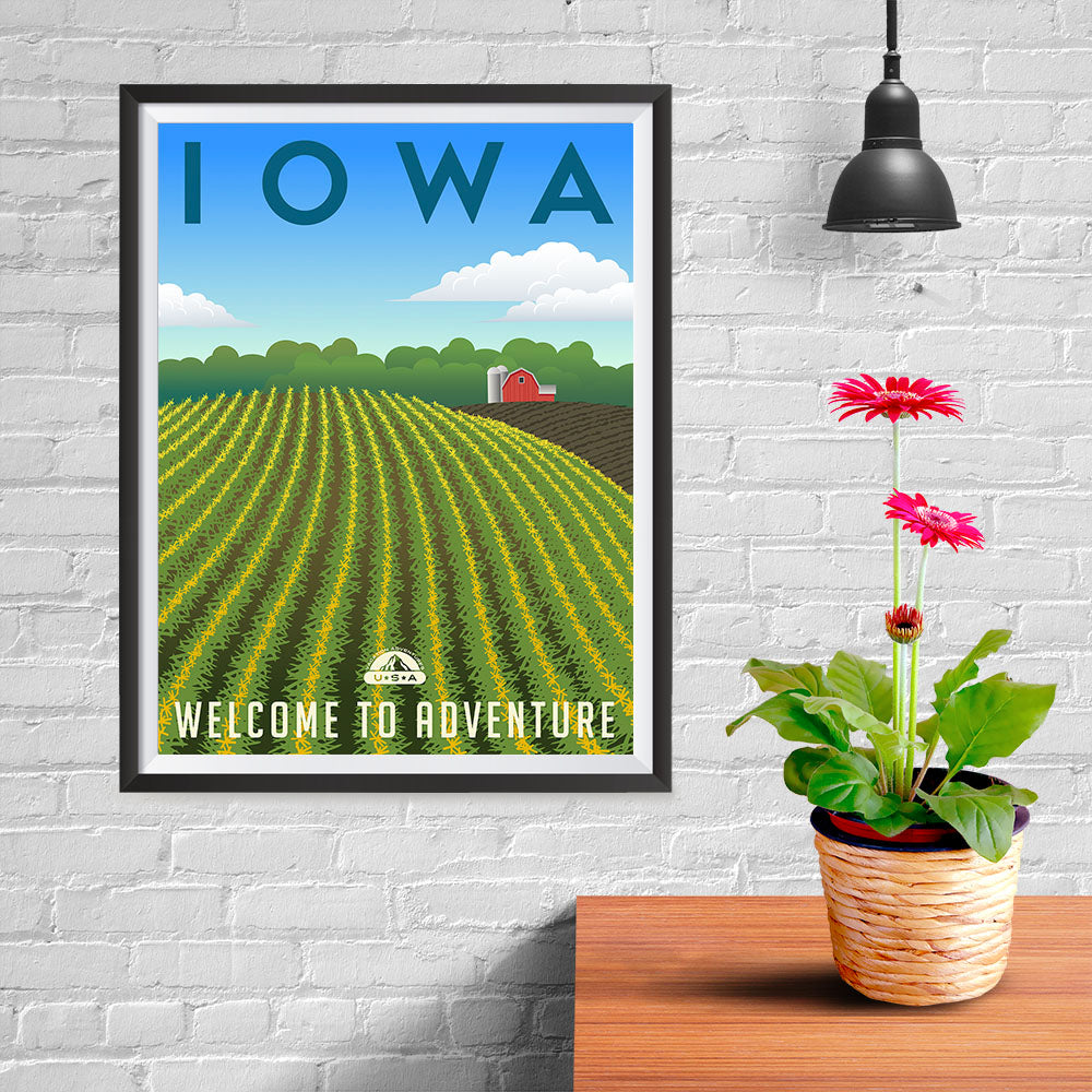 Ezposterprints - IOWA Retro Travel Poster - 12x16 ambiance display photo sample