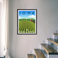Ezposterprints - IOWA Retro Travel Poster - 18x24 ambiance display photo sample