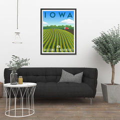 Ezposterprints - IOWA Retro Travel Poster - 24x32 ambiance display photo sample