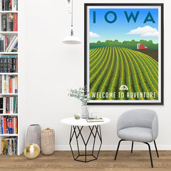 Ezposterprints - IOWA Retro Travel Poster - 36x48 ambiance display photo sample