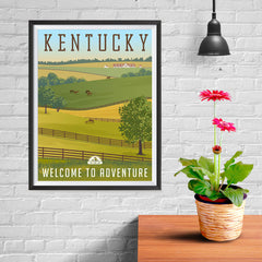 Ezposterprints - KENTUCKY Retro Travel Poster - 12x16 ambiance display photo sample