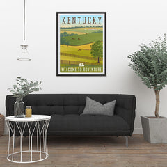 Ezposterprints - KENTUCKY Retro Travel Poster - 24x32 ambiance display photo sample