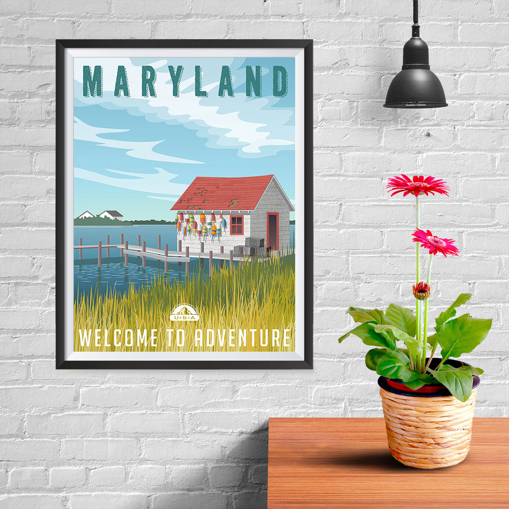 Ezposterprints - MARYLAND Retro Travel Poster - 12x16 ambiance display photo sample