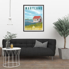 Ezposterprints - MARYLAND Retro Travel Poster - 24x32 ambiance display photo sample