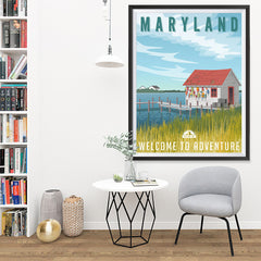 Ezposterprints - MARYLAND Retro Travel Poster - 36x48 ambiance display photo sample