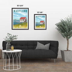 Ezposterprints - MARYLAND Retro Travel Poster ambiance display photo sample