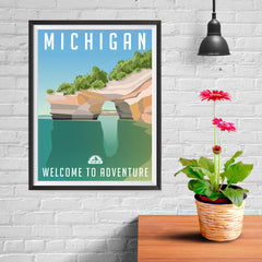 Ezposterprints - MICHIGAN Retro Travel Poster - 12x16 ambiance display photo sample