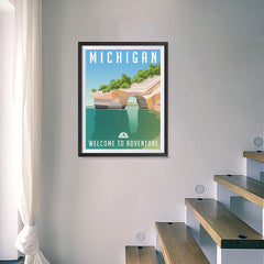 Ezposterprints - MICHIGAN Retro Travel Poster - 18x24 ambiance display photo sample