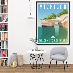 Ezposterprints - MICHIGAN Retro Travel Poster - 36x48 ambiance display photo sample