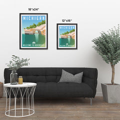 Ezposterprints - MICHIGAN Retro Travel Poster ambiance display photo sample