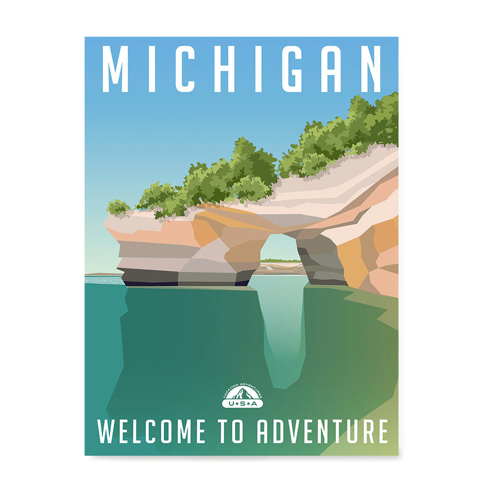 Ezposterprints - MICHIGAN Retro Travel Poster