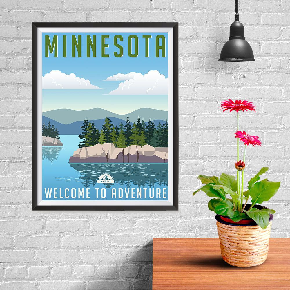 Ezposterprints - MINNESOTA Retro Travel Poster - 12x16 ambiance display photo sample