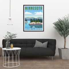 Ezposterprints - MINNESOTA Retro Travel Poster - 24x32 ambiance display photo sample