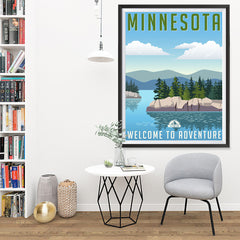 Ezposterprints - MINNESOTA Retro Travel Poster - 36x48 ambiance display photo sample