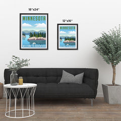 Ezposterprints - MINNESOTA Retro Travel Poster ambiance display photo sample