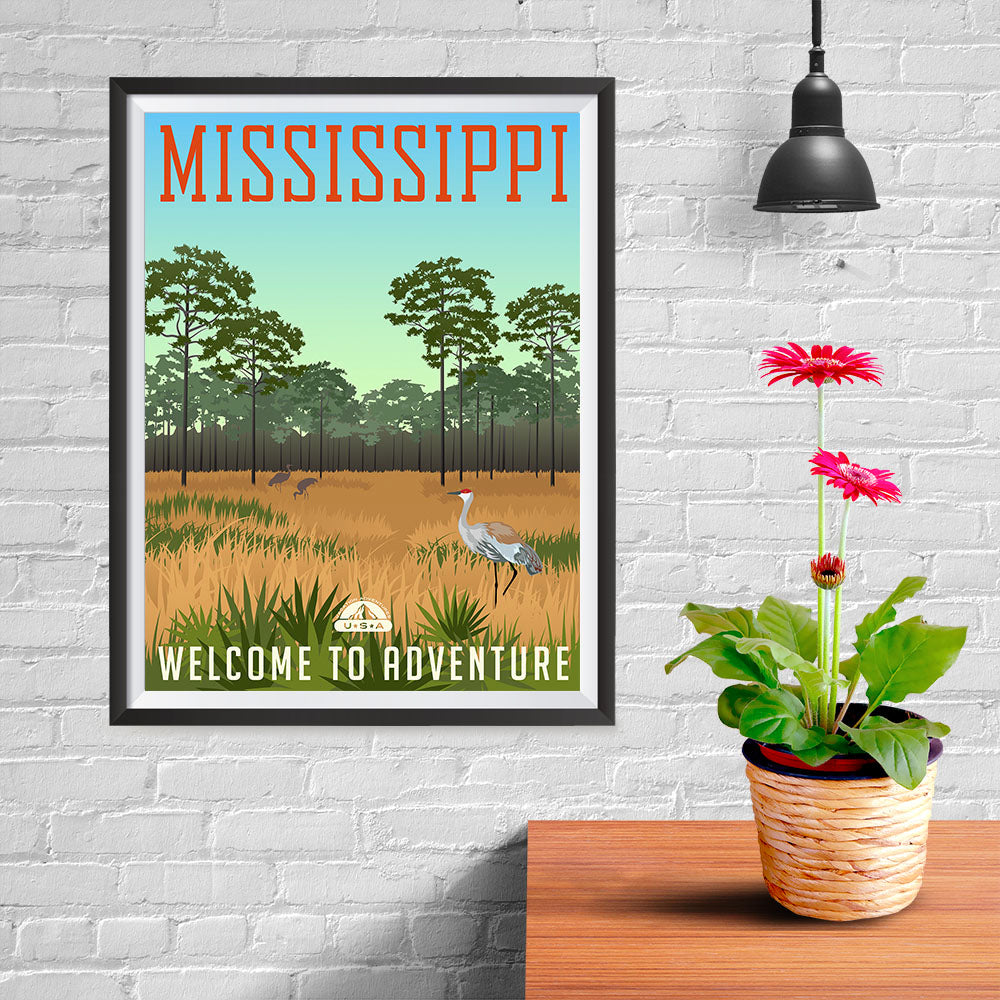 Ezposterprints - MISSISSIPPI Retro Travel Poster - 12x16 ambiance display photo sample