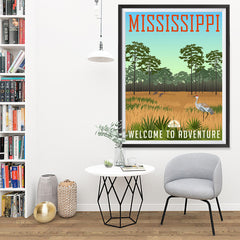 Ezposterprints - MISSISSIPPI Retro Travel Poster - 36x48 ambiance display photo sample