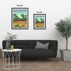 Ezposterprints - MISSISSIPPI Retro Travel Poster ambiance display photo sample